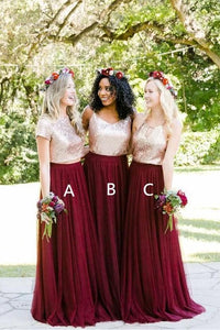 Two Piece Burgundy Sequin Bridesmaid Dresses