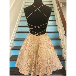 Short Lace Homecoming Dresses with Open Back