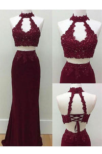Two Piece Sheath Appliques Lace Halter and Open Back Evening Dress