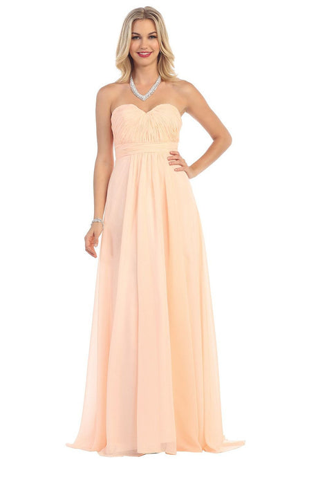 Strapless Sweetheart Ruched Long Chiffon Lace-up Bridesmaids Dresses