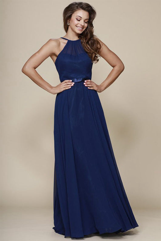 A-Line Sleeveless Long Chiffon Bridesmaid Dresses