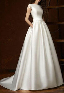 Cap Sleeves Satin Ball Gown Wedding Dresses
