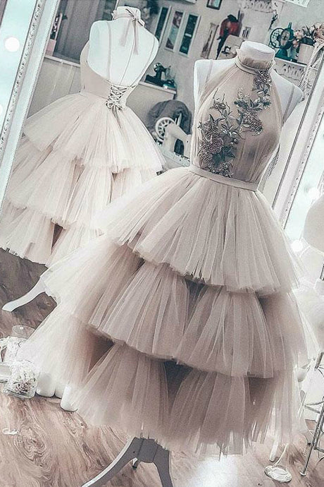High Neck Halter Tulle Ball Gown Prom Dress with Lace