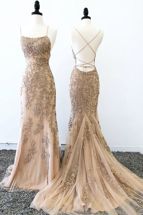 Mermaid Spaghetti Straps Applique Lace Prom Dresses with Sweep Train
