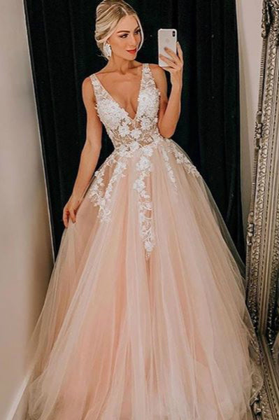 Light Pink Tulle V Neck Applique Lace Wedding Dress/Prom Dress