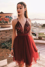 Sexy V Neck Short Homecoming Dress with Sequins