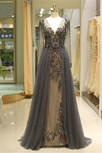 V Neck Tulle Prom Gown with Long Sleeves Beading Evening Dress