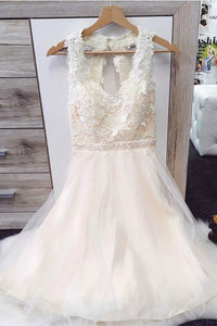Lace Jewel Open Back Tulle Short Prom Dress
