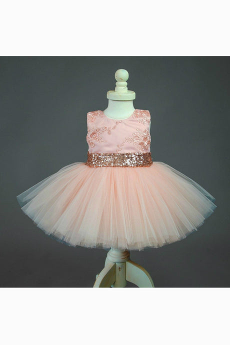 Cute Jewel Lace Flower Girl Ball Grow Dress with Bow and Sequins