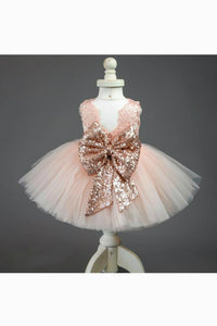Cute Jewel Lace Flower Girl Ball Gown Dress with Bow and Sequins
