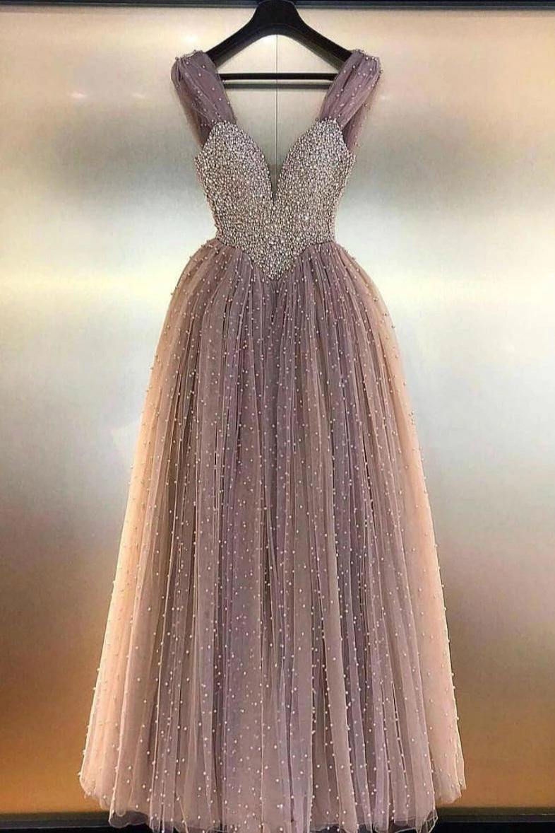 Ball Gown Beads V-neck Floor Length Prom Dresses