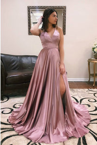 V-Neck Sweep Train Cross Back Prom Dresses with Split