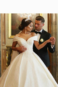 Ball Gown V-Neck Lace Sweep Train Vintage Wedding Dress