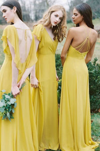Sheath Open Back Floor-length Chiffon Bridesmaids Dress