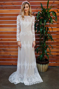 Sheath Full Sleeves V-back with Lace Beach Wedding Dress