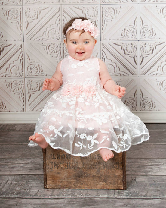 A-Line/Princess Scoop Neck Baby Flower Girl Dress with Flowers