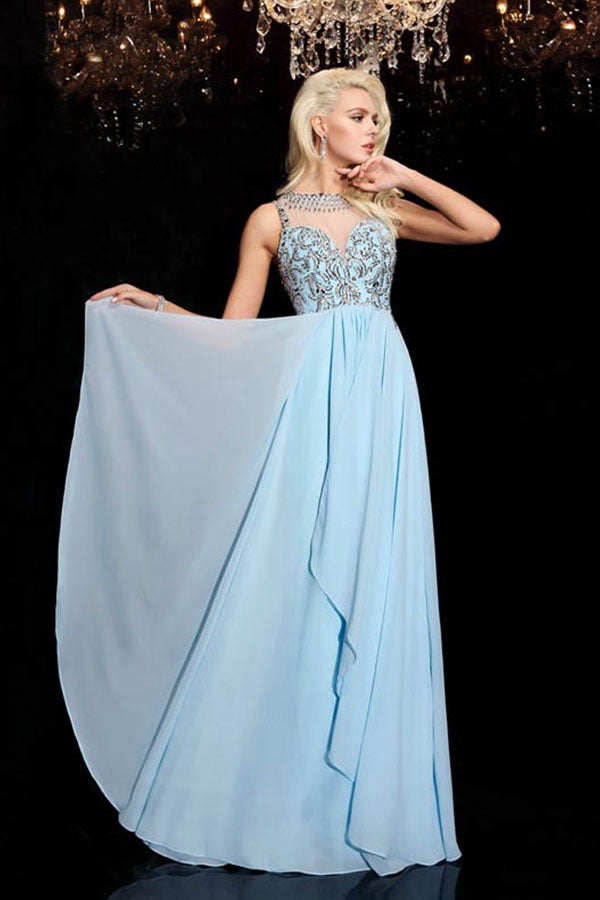 Sleeveless Illusion Bateau Long Chiffon Prom Dresses