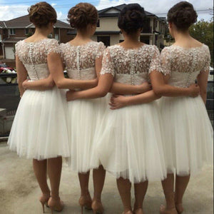 A-line Short Sleeves Knee-length Lace Tulle Bridesmaid Dresses