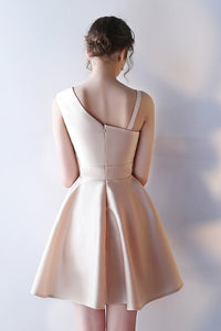 Chic Short Satin Sleeveless Prom Dresses