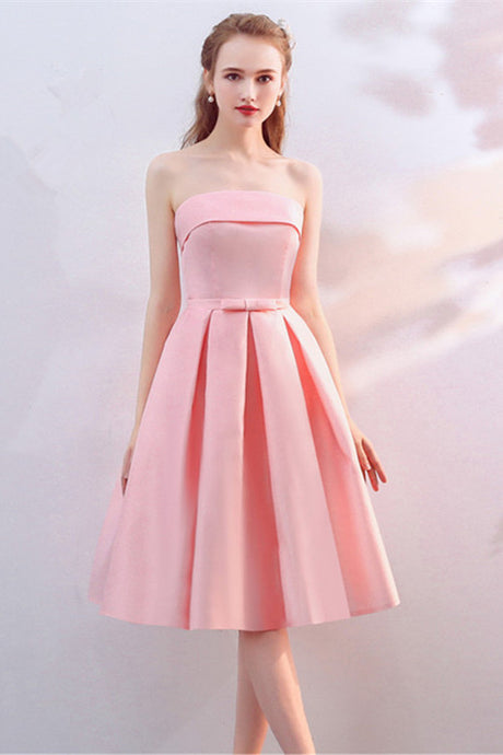 Strapless Pink Sweetheart Knee Length Dresses