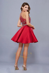 A-Line Halter Short Beading Formal Cocktail Dresses