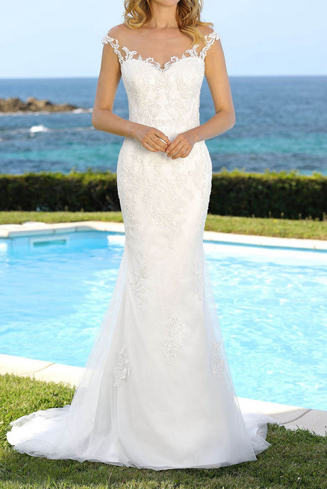 Sheath Illusion Sweetheart Lace Wedding Dresses