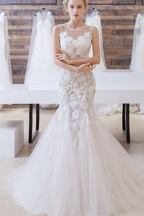 Illusion Lace Applique Mermaid Wedding Dresses