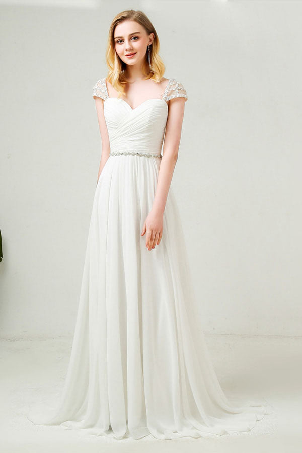 Beaded Cap Sleeves Sweetheart Chiffon Wedding Dresses