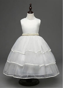 Ball Gown Sleeveless Beading Waistband Sash Layers Tea-length Flower Girl Dresses