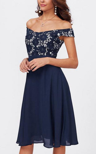 Off-the-Shoulder Chiffon Short Prom Dresses