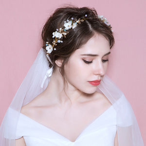 Pearl Handflower Bridal Headpiece