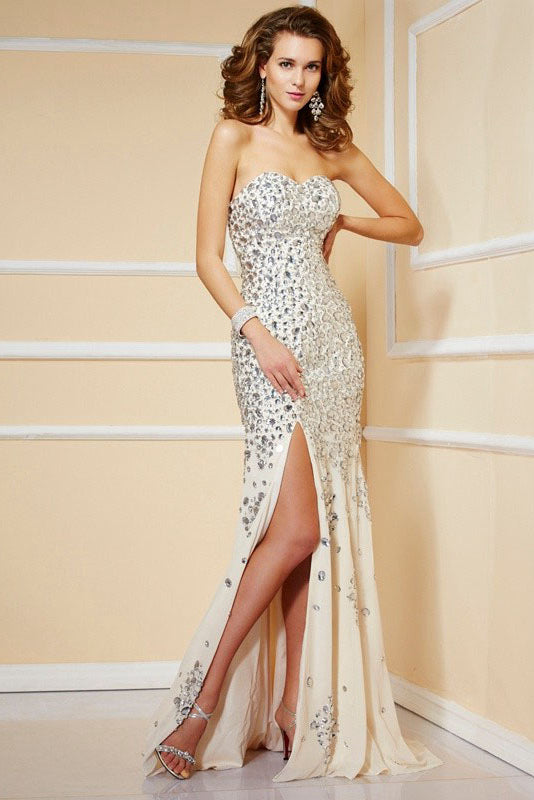 Trumpet/Mermaid Strapless Sweetheart Beading Split Formal Prom Dresses
