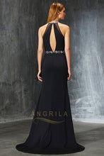 Sheath/Column Sleeveless Beading Split Long Formal Prom Dresses