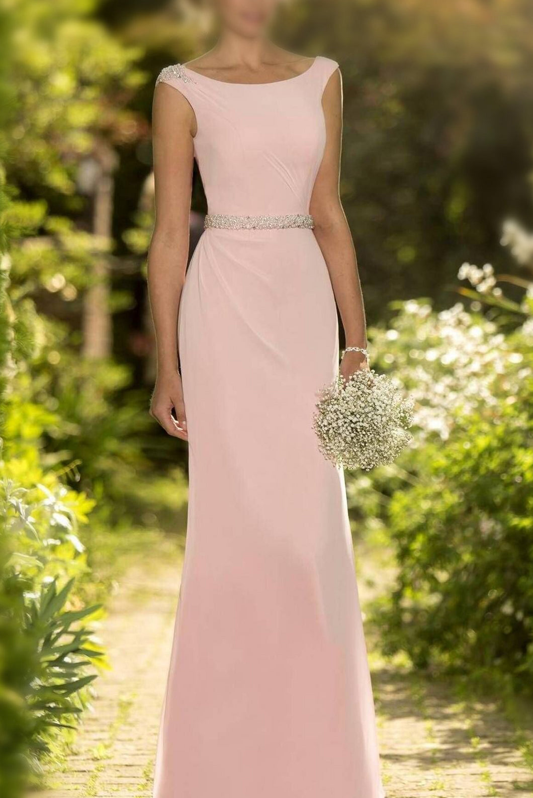Sheath/Column Sleeveless Beading Wasitband Covered Button Chiffon Bridesmaid Dresses