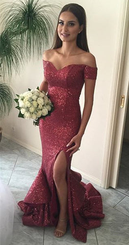 Outstanding Trumpet/Mermaid Off-the-shoulder Flounced Split Long Sequined Prom Dresses