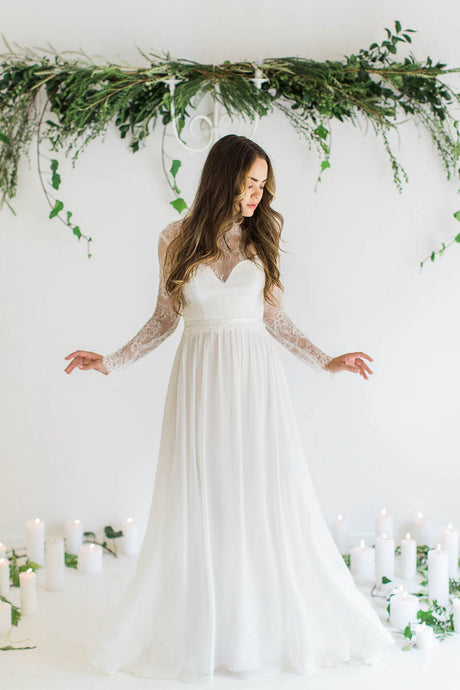 Long Sleeves Sweetheart Chiffon Wedding Dresses with Sleeves