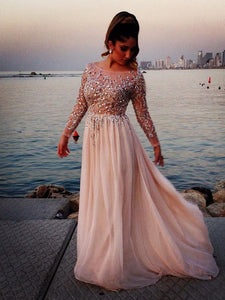 A-line Chiffon Bateau Long Sleeves Beading Floor-length Prom Dresses