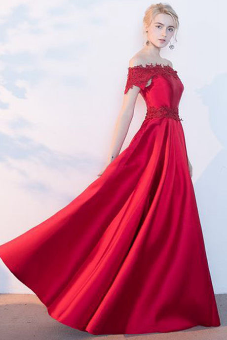 A-line Off-the-shoulder Satin Long Homecoming Dresses