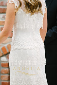 Sweetheart Lace Wedding Dresses with Cap Sleeves