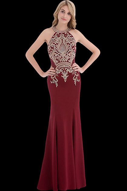 Mermaid Halter Sleeveless Beading Long Evening Dresses