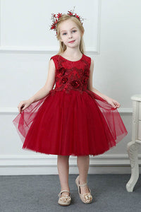 Scoop Flowers Knee-Length Tulle Flower Girl Dresses