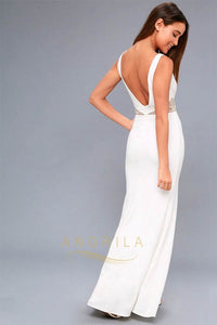 V-Neck Sheath Floor-Length Maxi Dresses