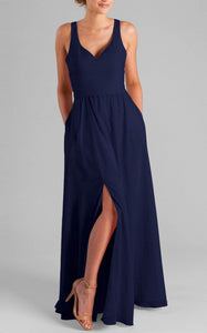 A-Line Floor-Length Slightly Pleated Bridesmaid Dresses