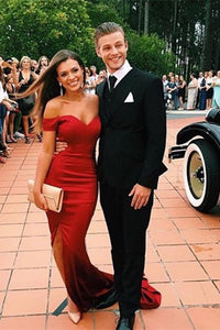 Sheath/Column Off-the-shoulder V-neck Side Split Long Prom Dresses