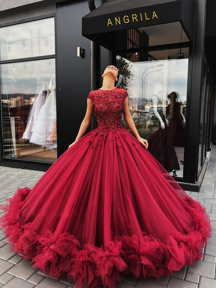 Junoesque Burgundy Tulle Appliques Ball Gown Prom Dresses