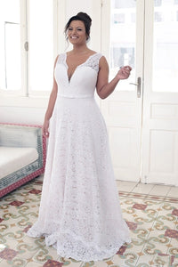 A-Line V-neck Court Train Floor Length Lace Wedding Dress