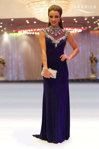 Admirable Sheath/Column High-neck Sleeveless Beading Long Prom Dresses