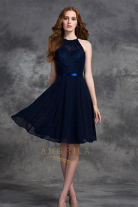 A-line Halter Lace Top Chiffon Short Bridesmaid Dresses