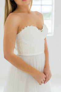 Strapless Sweetheart Lace Bodice Tulle Wedding Dresses