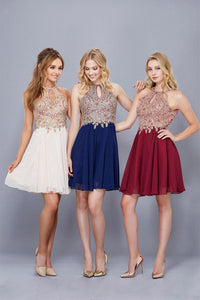 A-line/Princess Beading Short Chiffon Cocktail Dresses